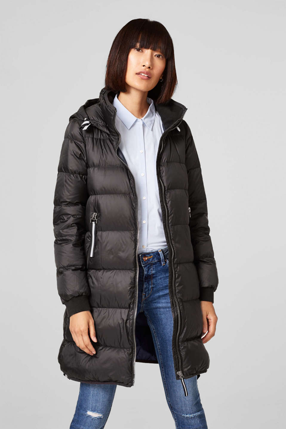 edc - Lightweight quilted coat with a hood