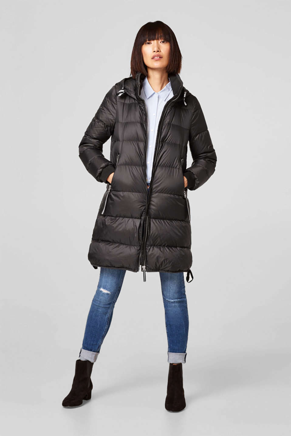 Lightweight quilted coat with a hood