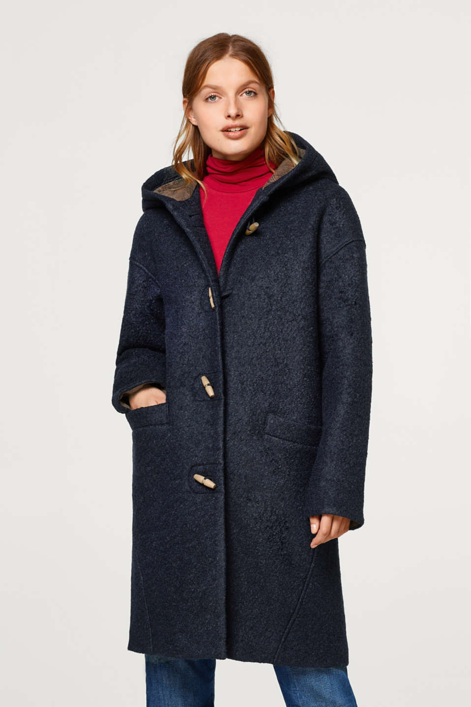 edc - Made of blended wool: bouclé duffle coat with a hood