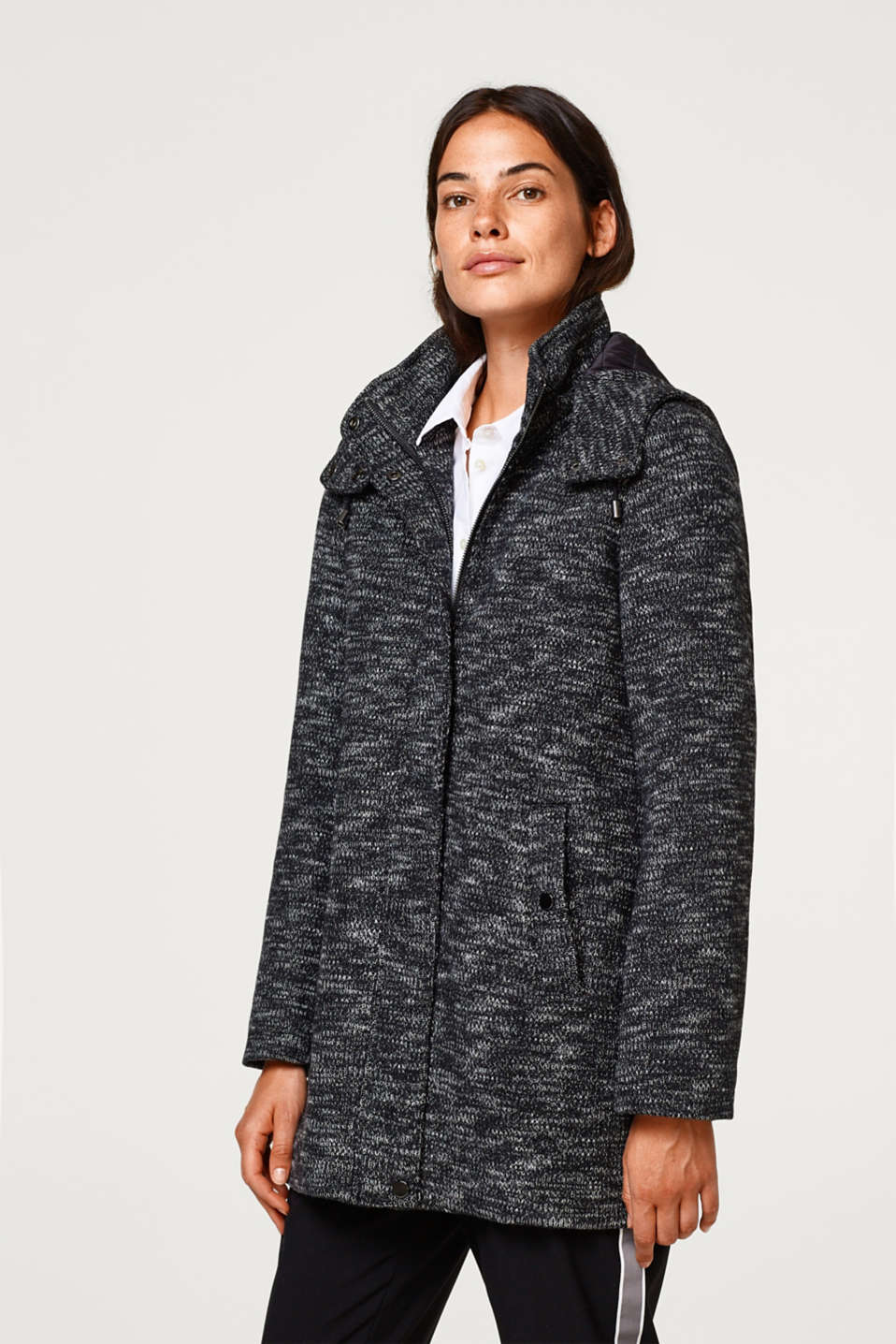 edc - Wool blend: knitted coat with quilted lining