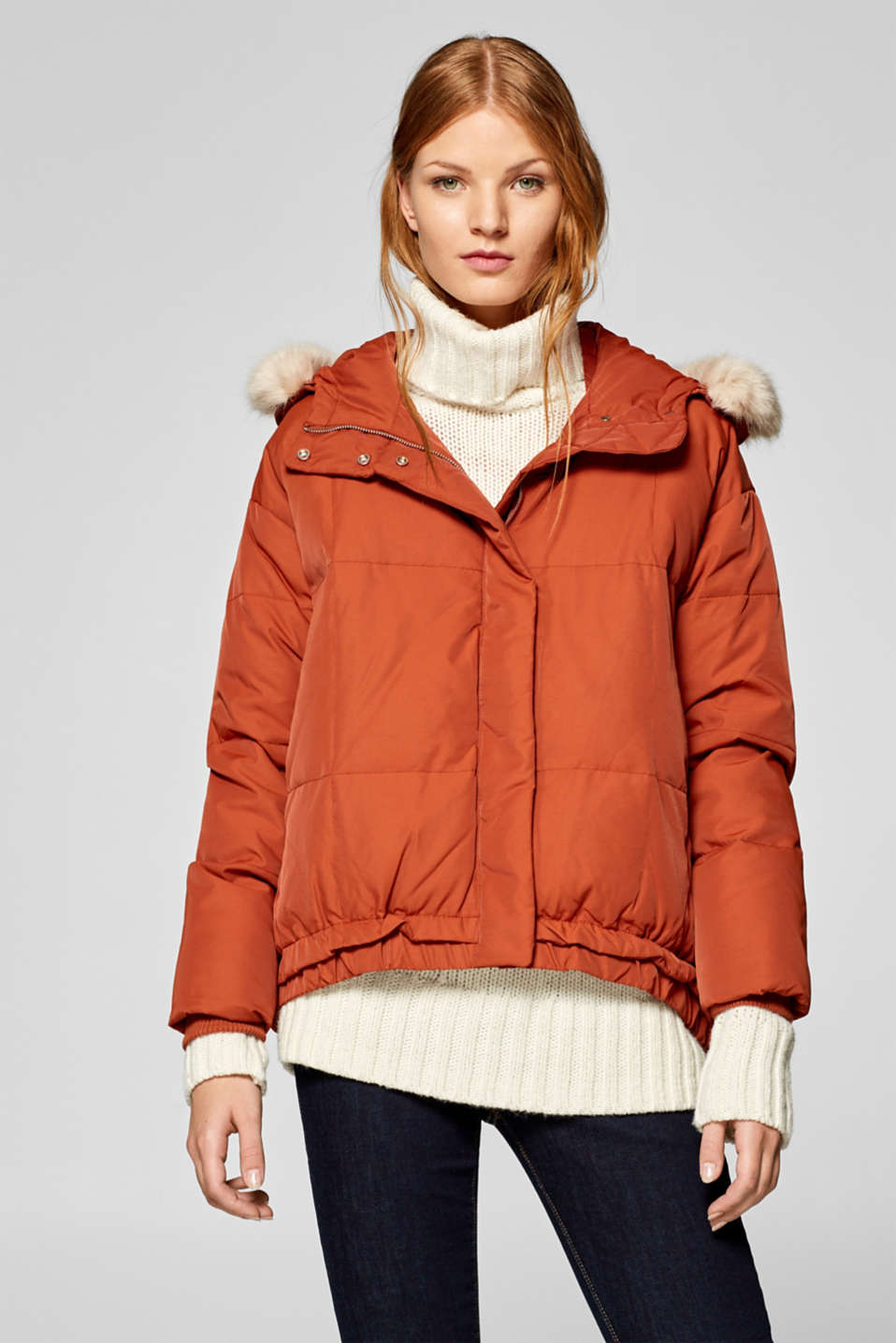 edc - Down jacket with a high-low hem