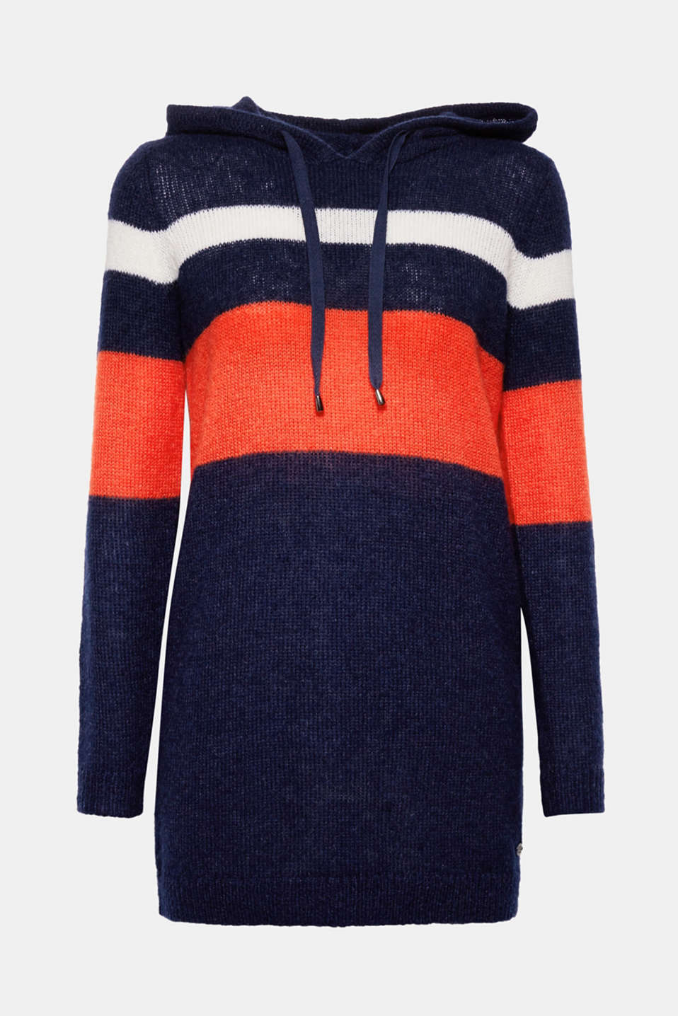 Wonderfully lightweight and fashionably long: This hooded jumper with colour blocking makes a sporty statement!