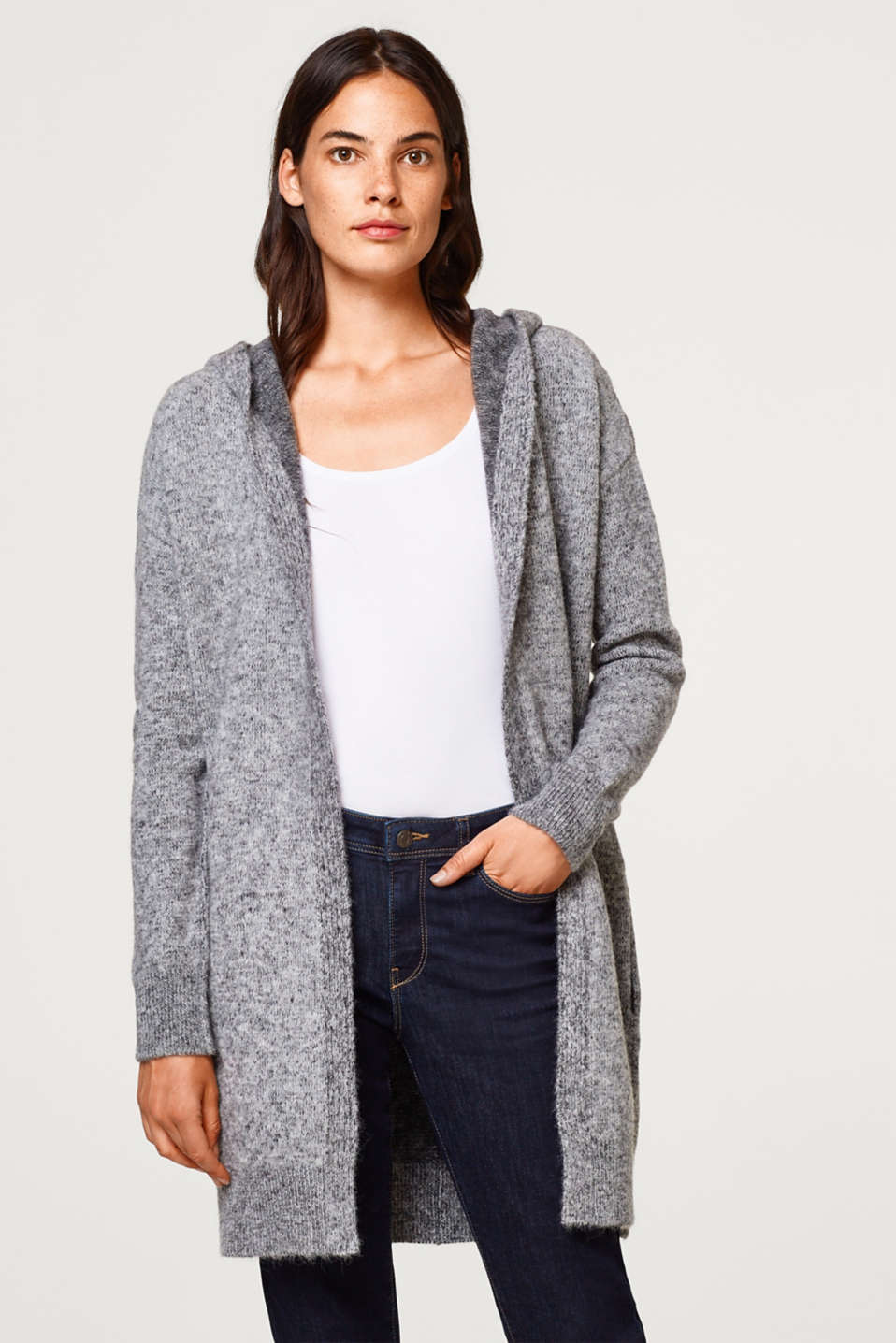 edc - Wool blend: Long cardigan with a melange finish