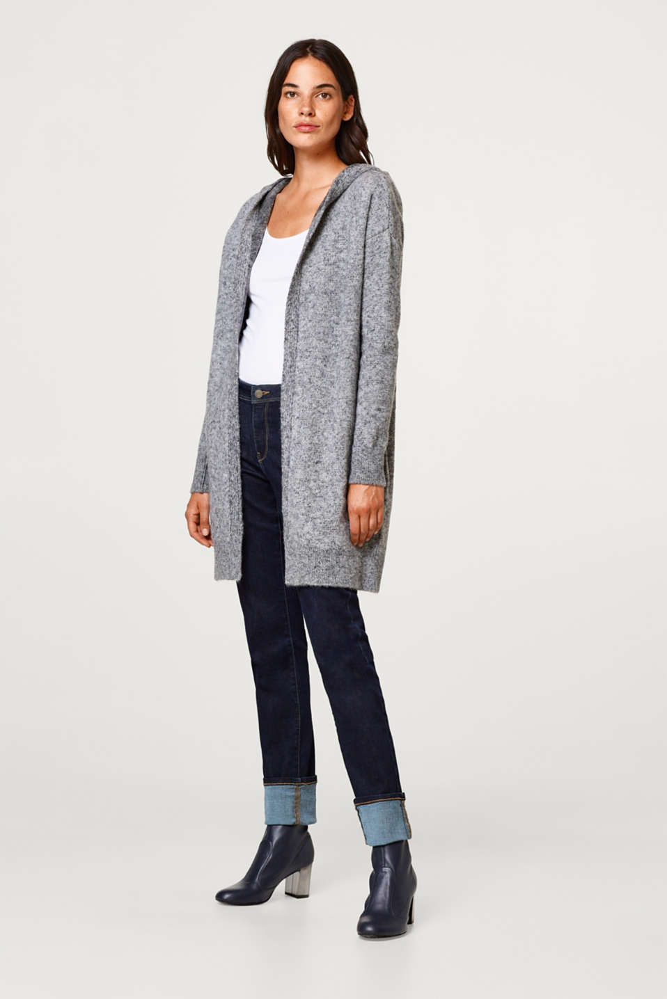 Wool blend: Long cardigan with a melange finish