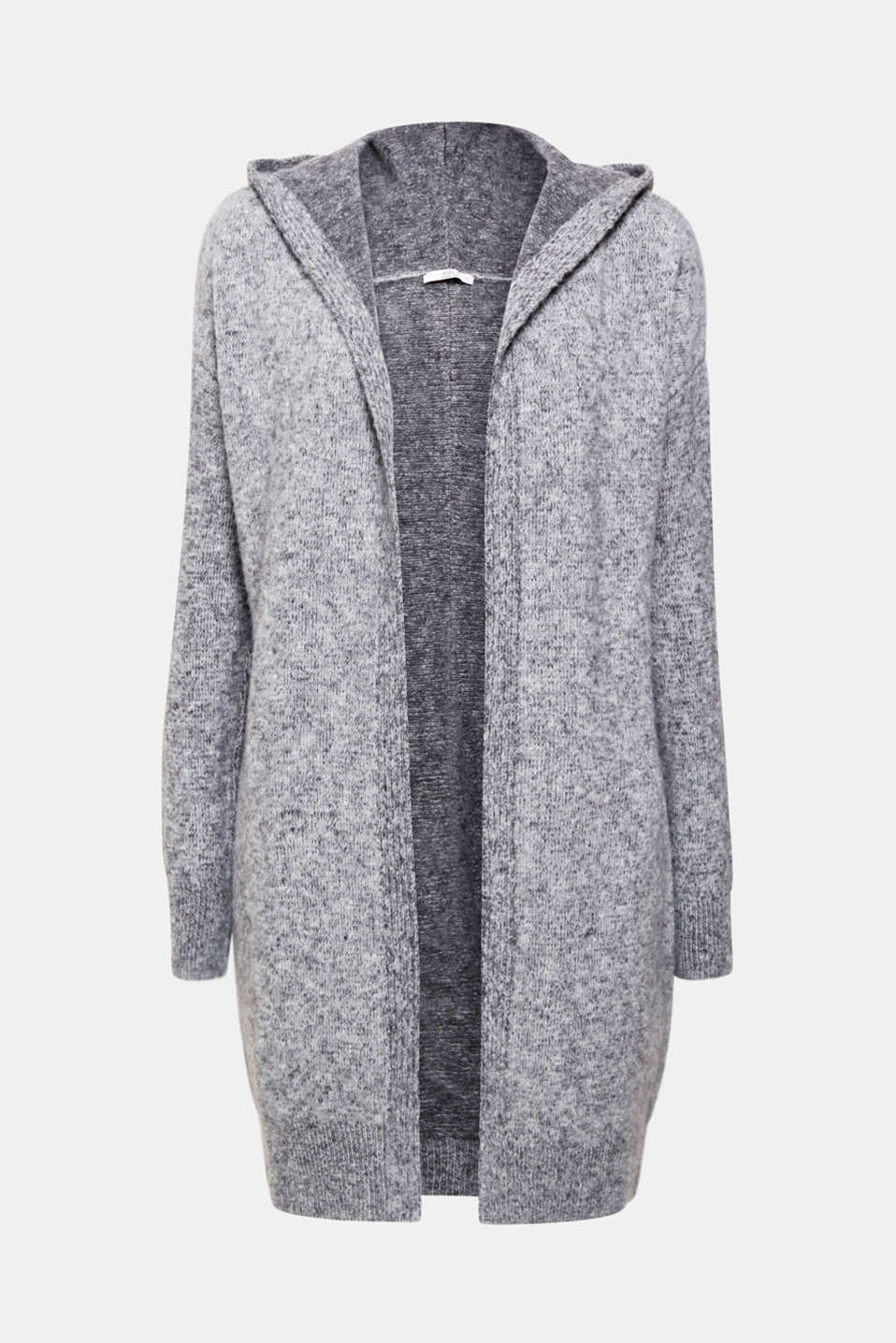 Wrap up: in this open long cardigan made of voluminous, soft knit fabric with a fashionable melange finish and a casual hood!