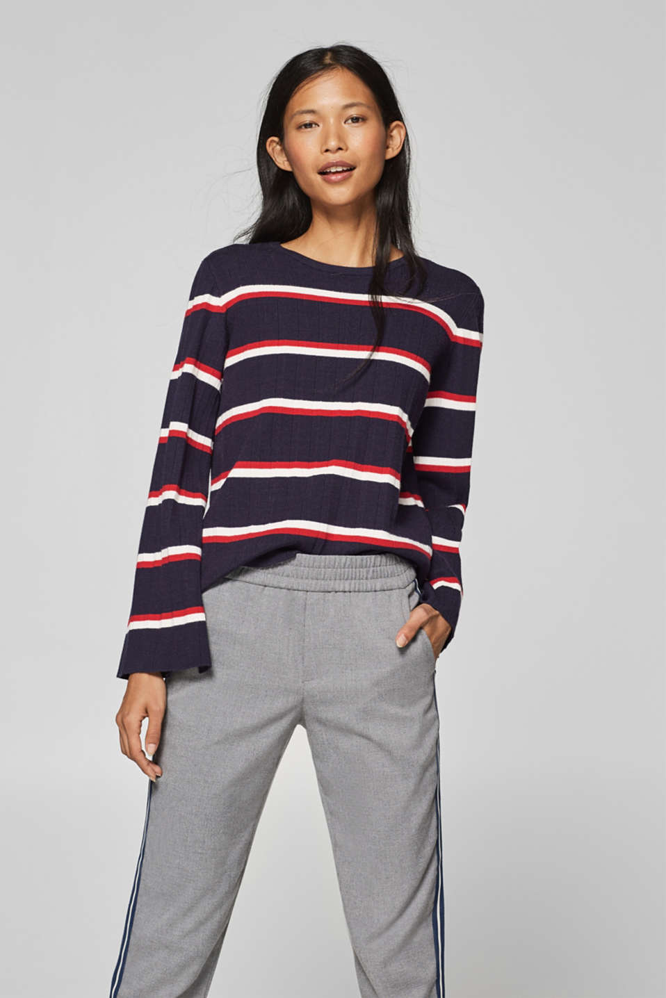 edc - Striped jumper with trumpet sleeves