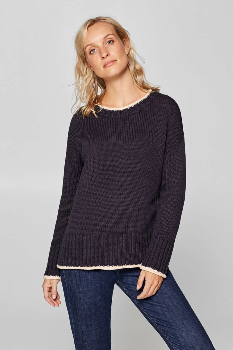 edc - Chunky knit jumper with contrasting trims
