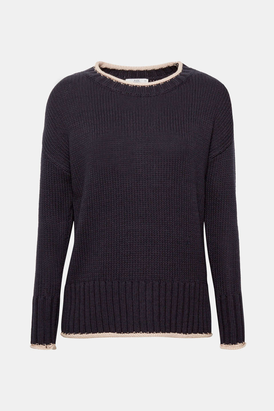 A sporty jumper in soft, blended cotton with contrasting colour rolled edges and wide-ribbed cuffs and hem for a fashionable, eye-catching look!