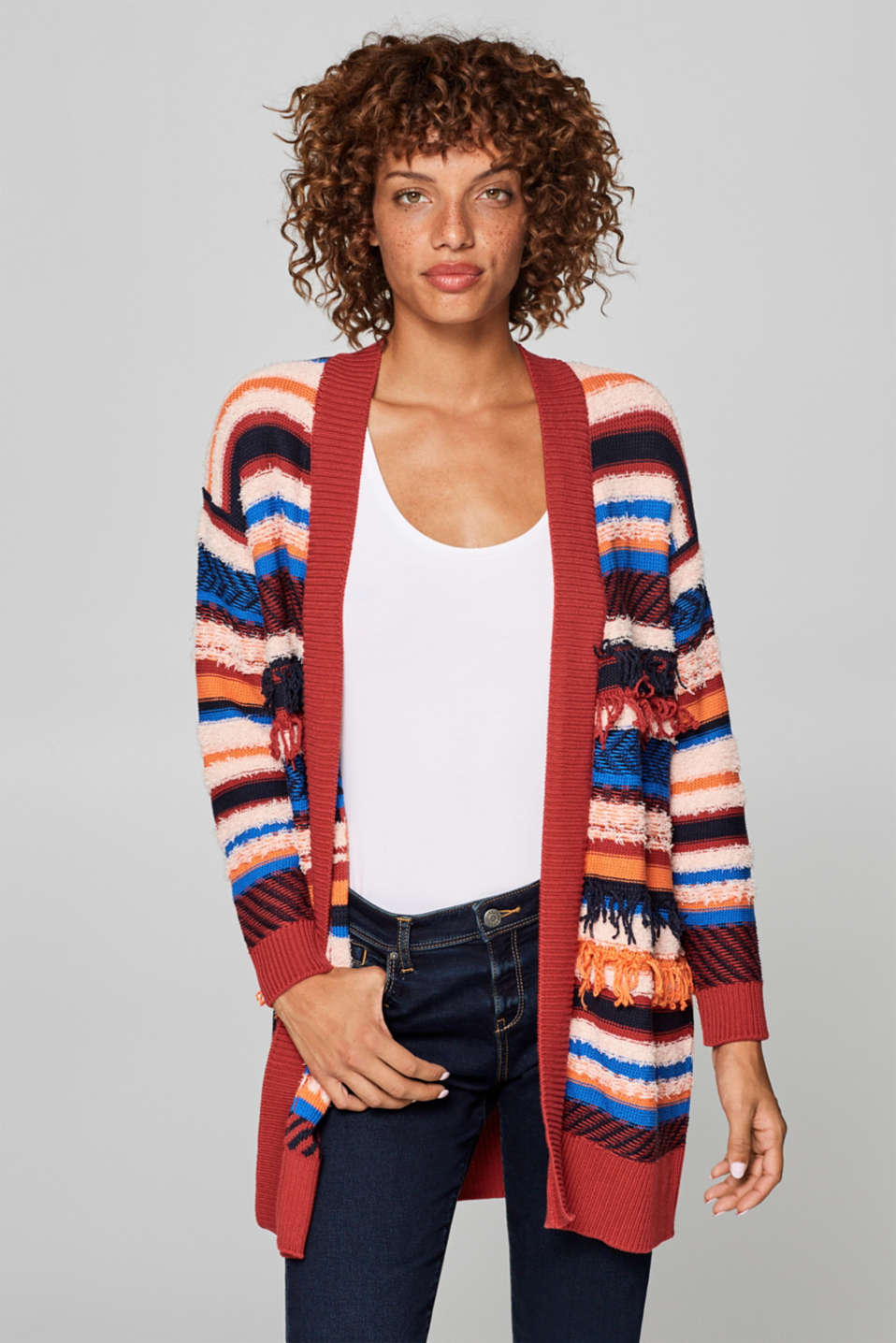edc - Cardigan with stripes and fringing
