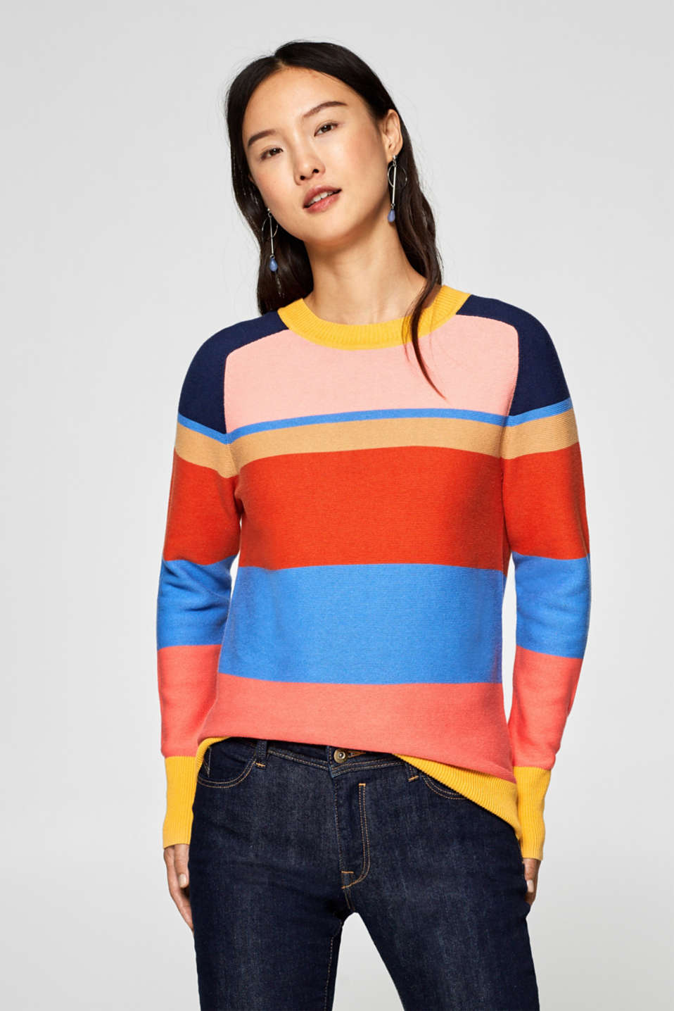 edc - Block stripe jumper, 100% cotton