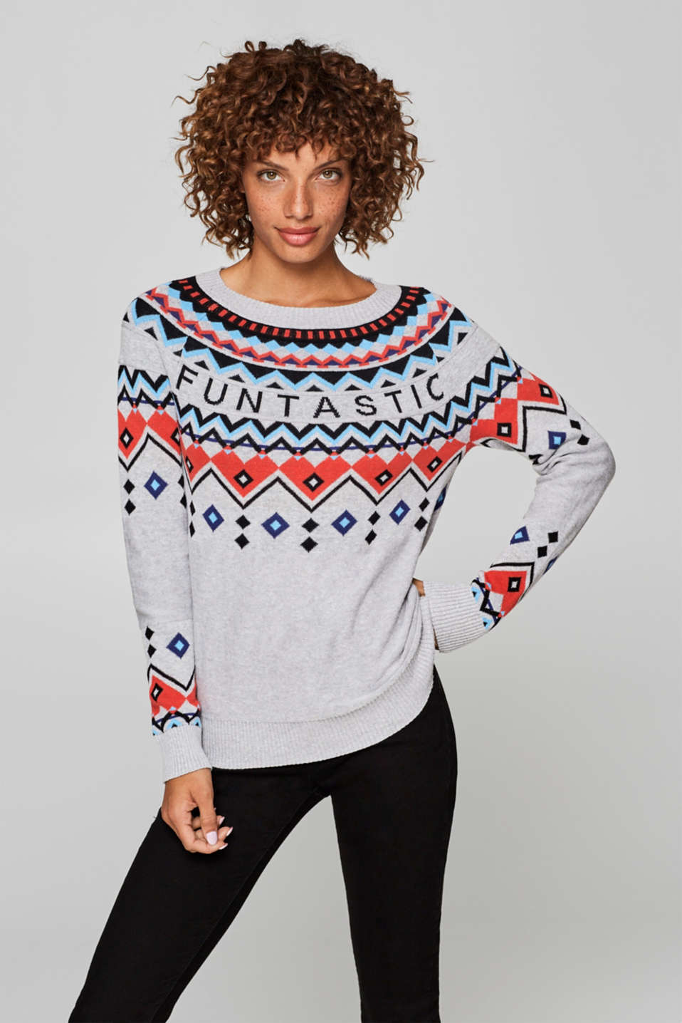 edc - Jacquard jumper with a statement, 100% cotton