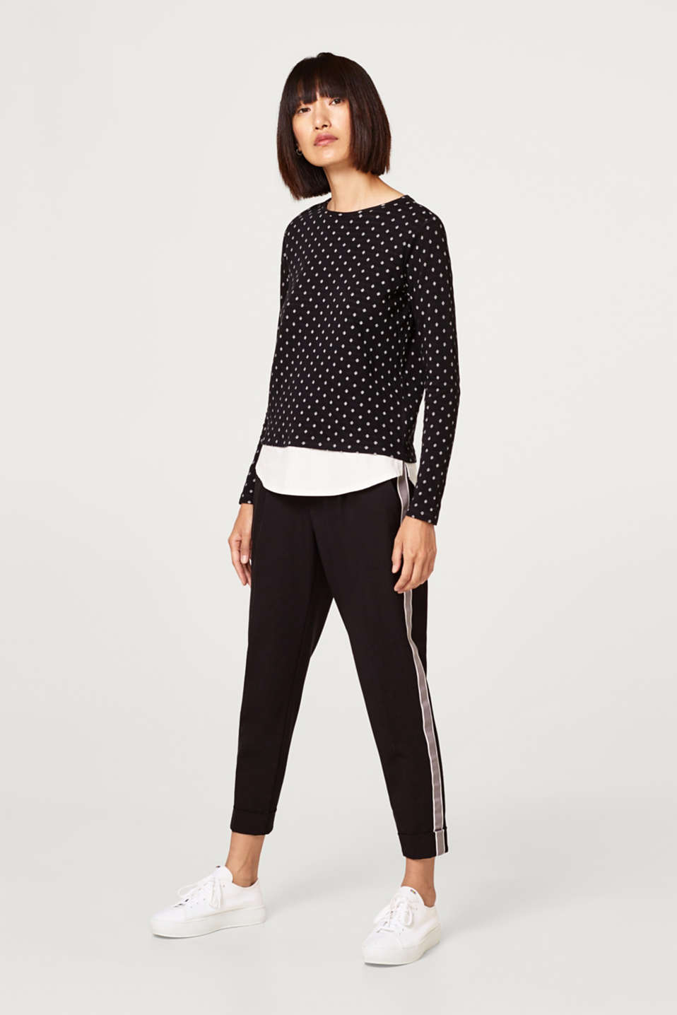 2-in-1 long sleeve top with cloth hem