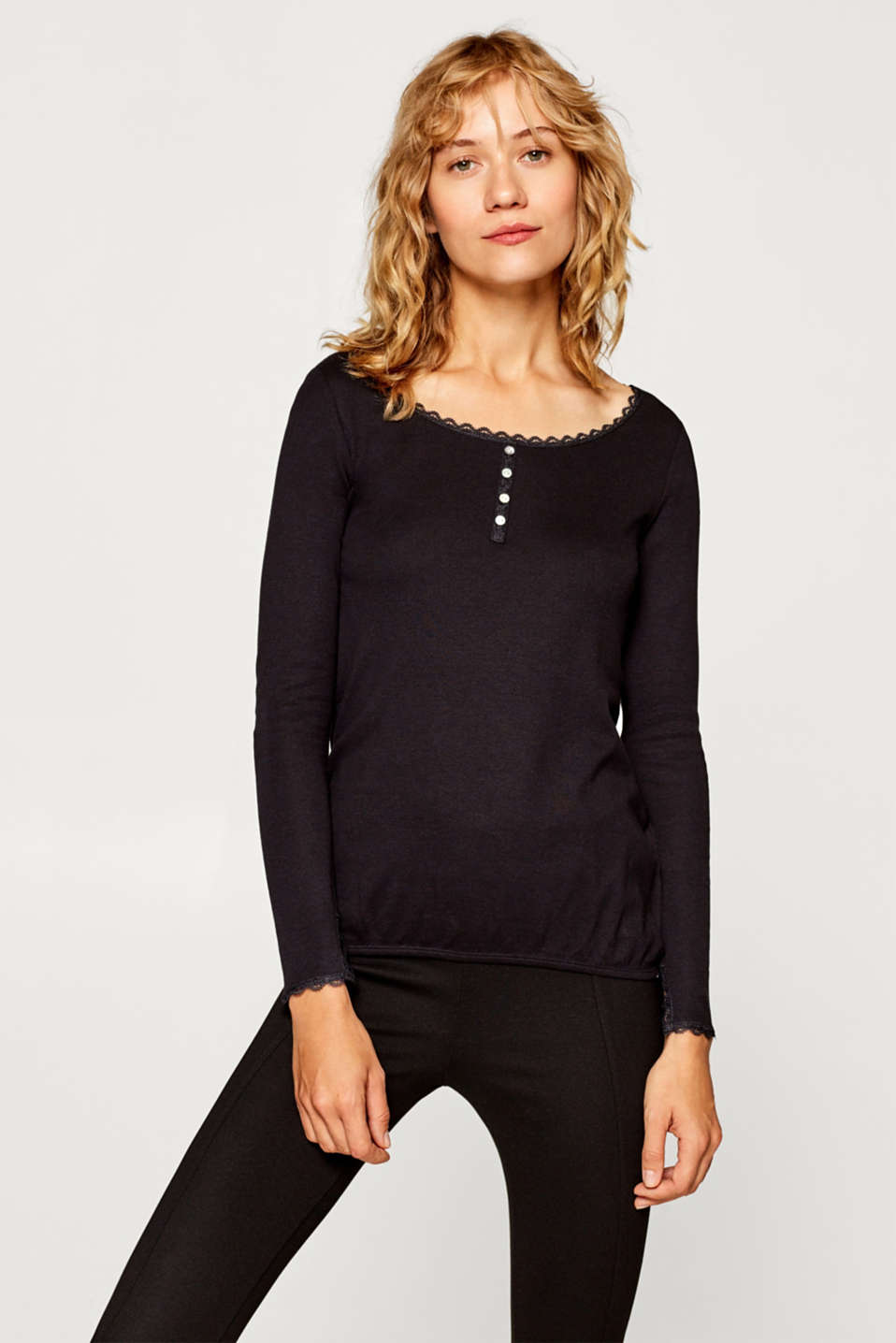 edc - Henley long sleeve top with organic cotton