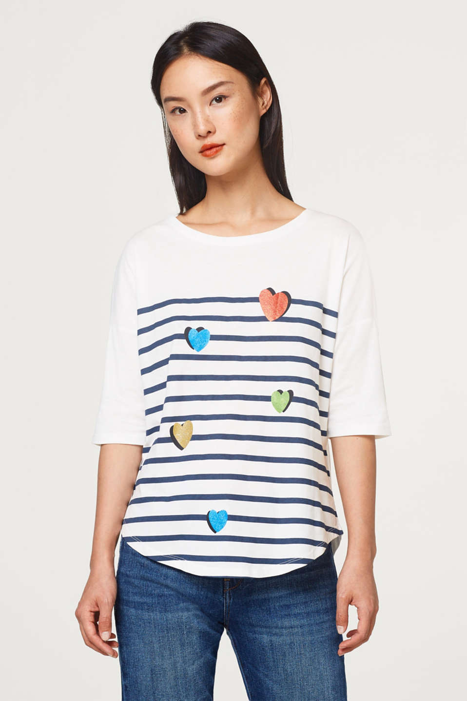 edc - Cotton top with wide sleeves and a print