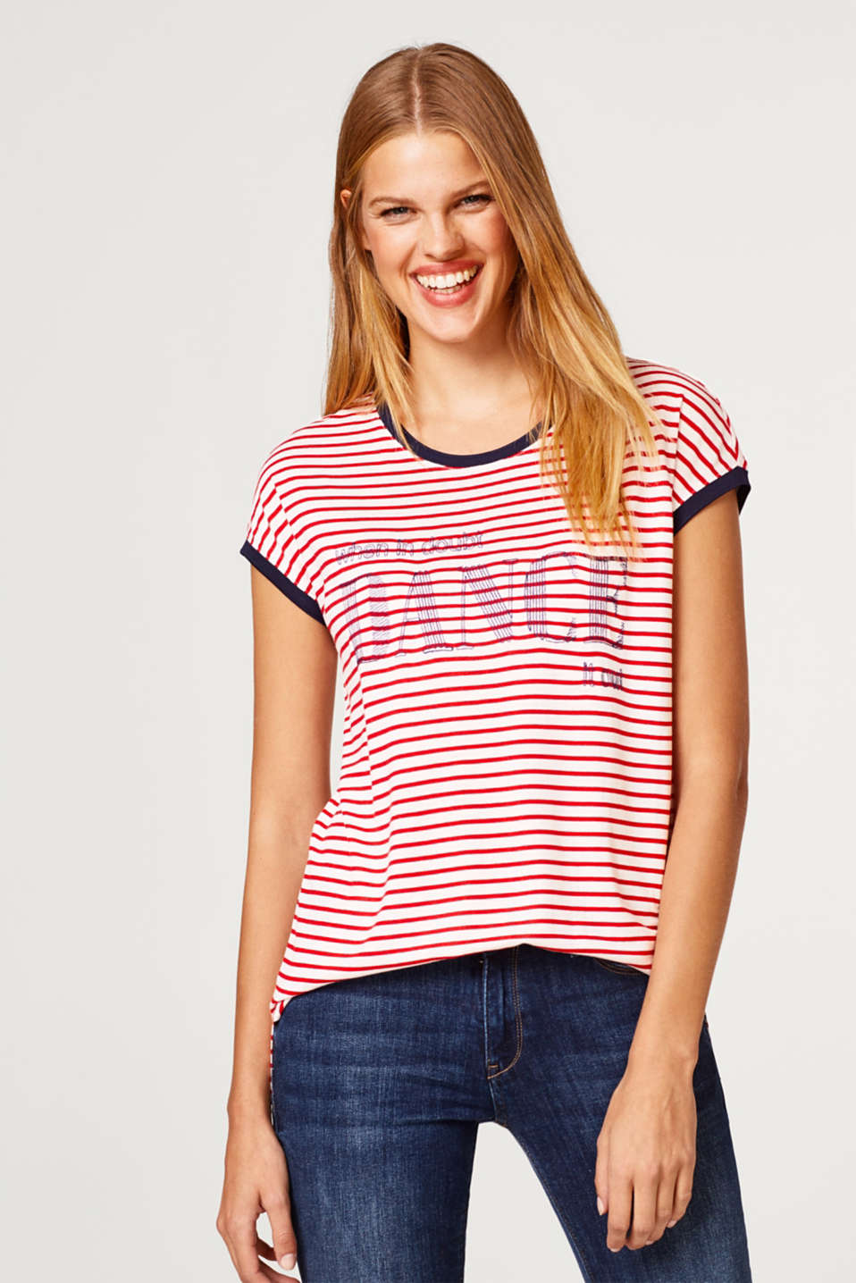 edc - Embroidered striped T-shirt