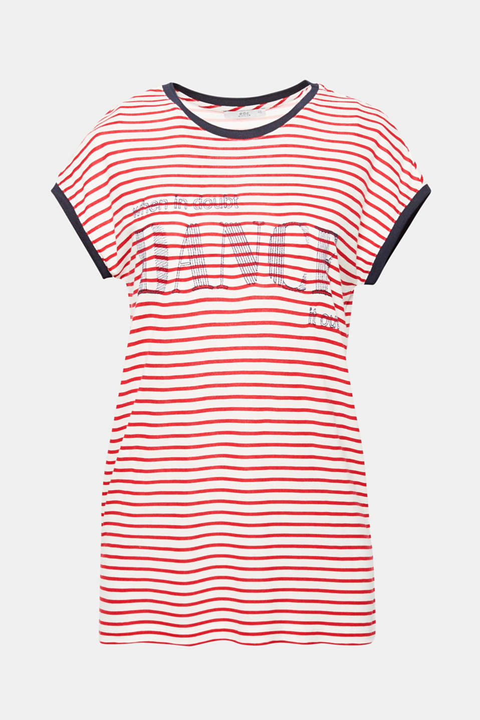 We love dance! The embroidered statement and stripes give this airy T-shirt a fantastic fashion vibe!