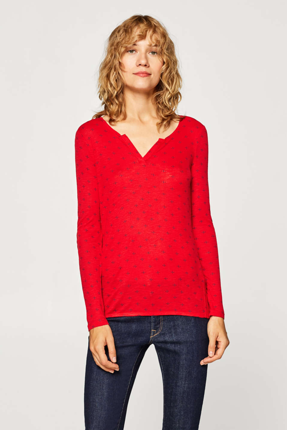 edc - Long-sleeve Henley top with a print