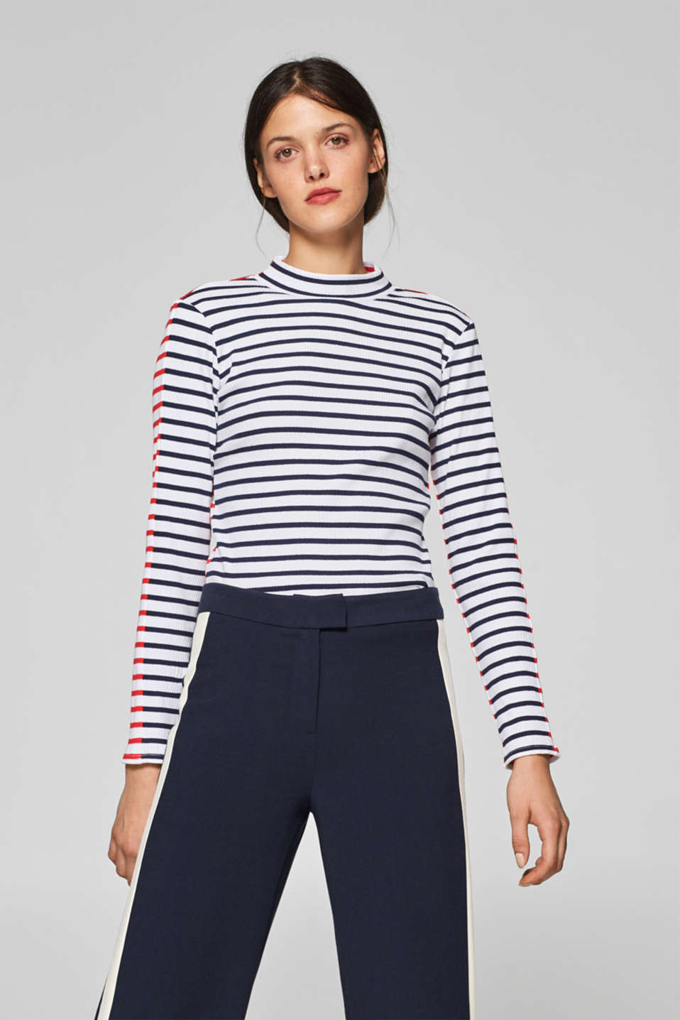 edc - Long sleeve top with two-tone stripes