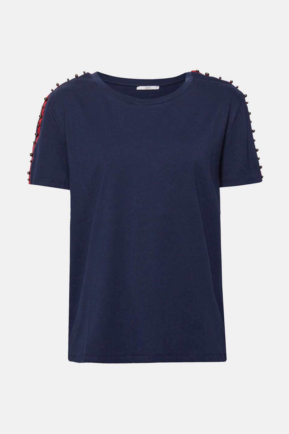 Stunning shoulders: the woven tape decorated with metal beads brings them fashionably into focus and gives this casual cotton tee its cool kick!