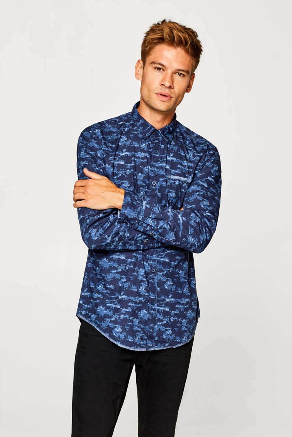 edc - Shirt with a camouflage print, 100% cotton
