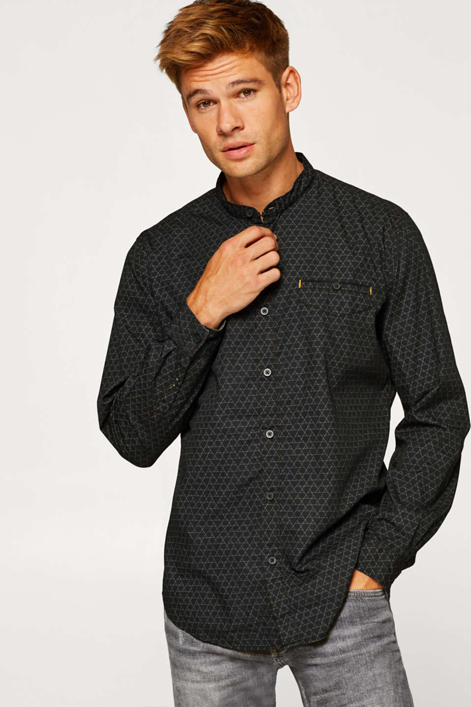 edc - Shirt with a geometric print, 100% cotton