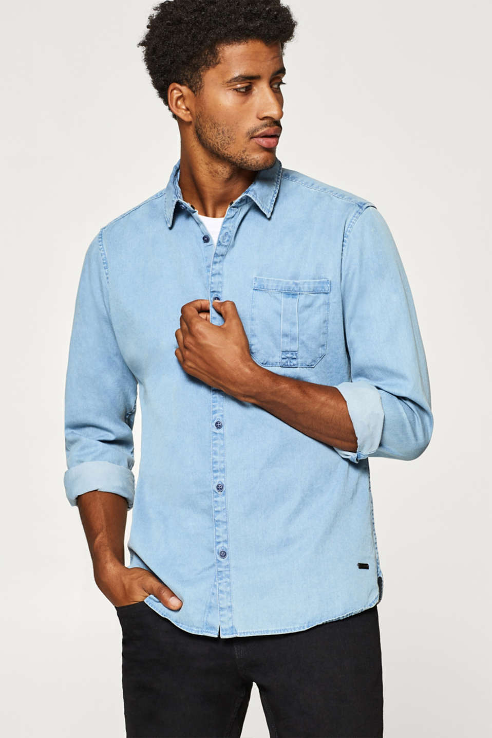 edc - Denim shirt in 100% cotton