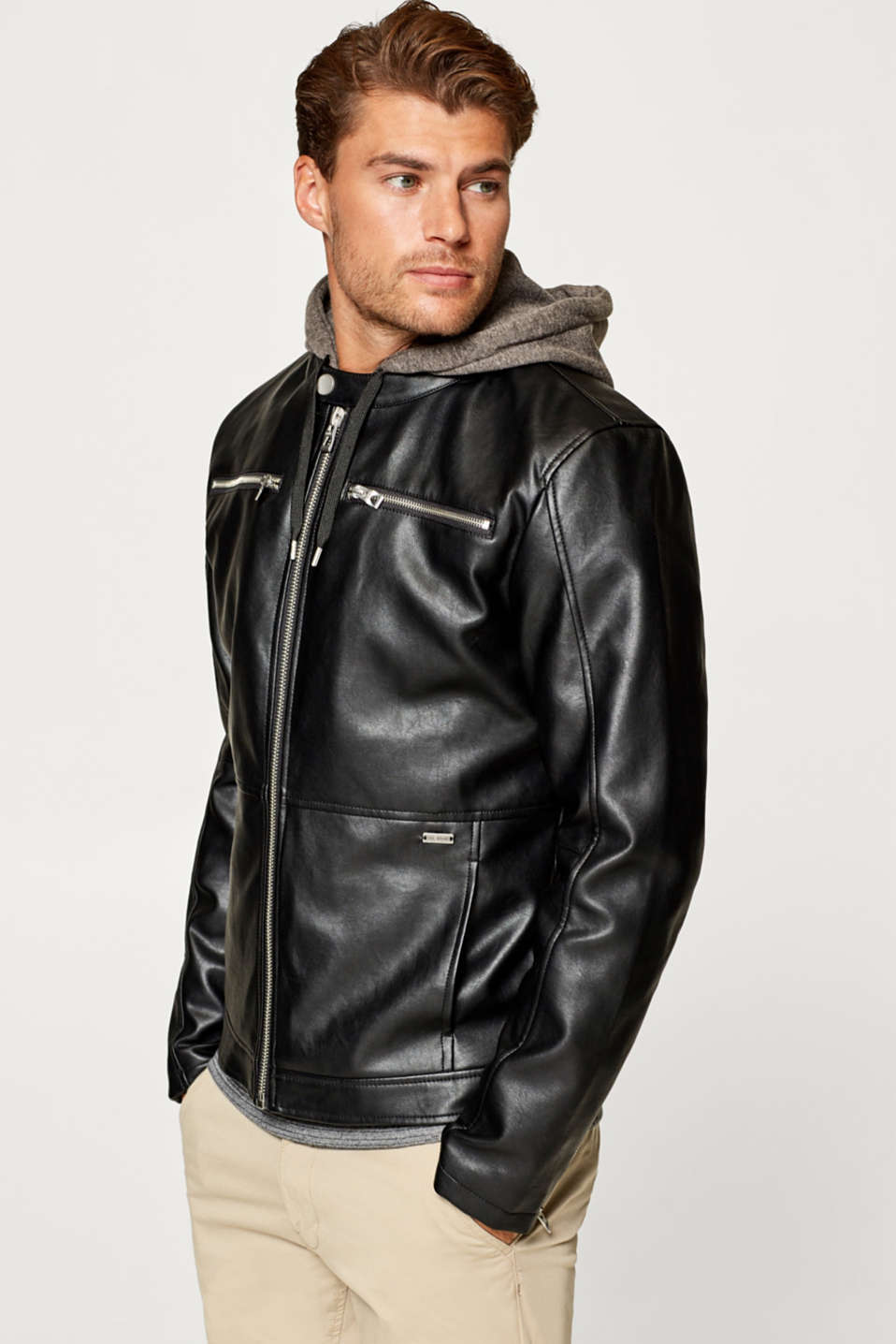 edc - Biker jacket with an adjustable hood, in faux leather