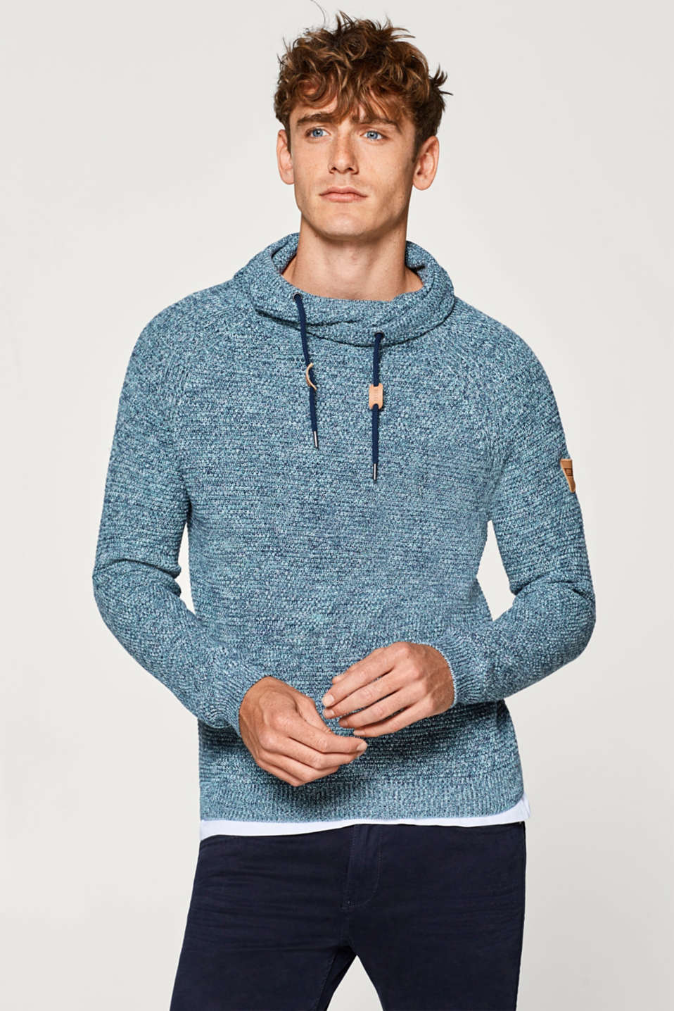 edc - Jumper with a layered collar, 100% cotton