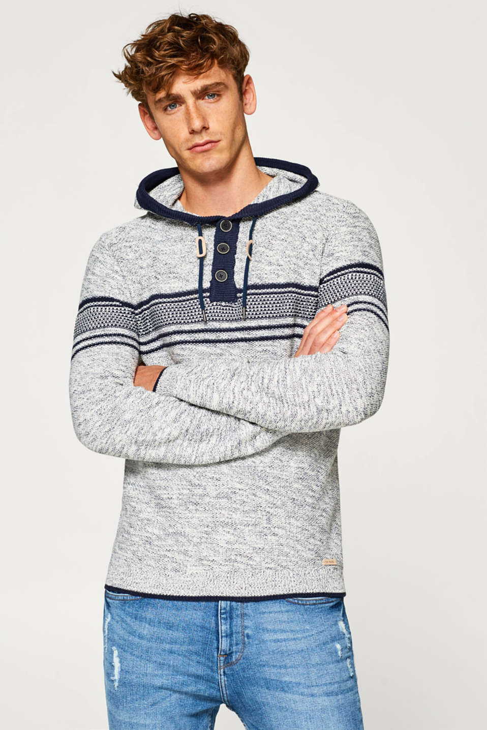 edc - Knit hoodie in blended cotton
