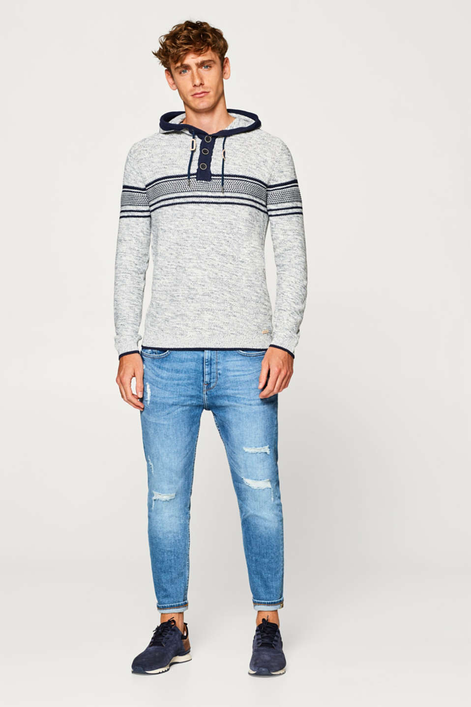 Knit hoodie in blended cotton