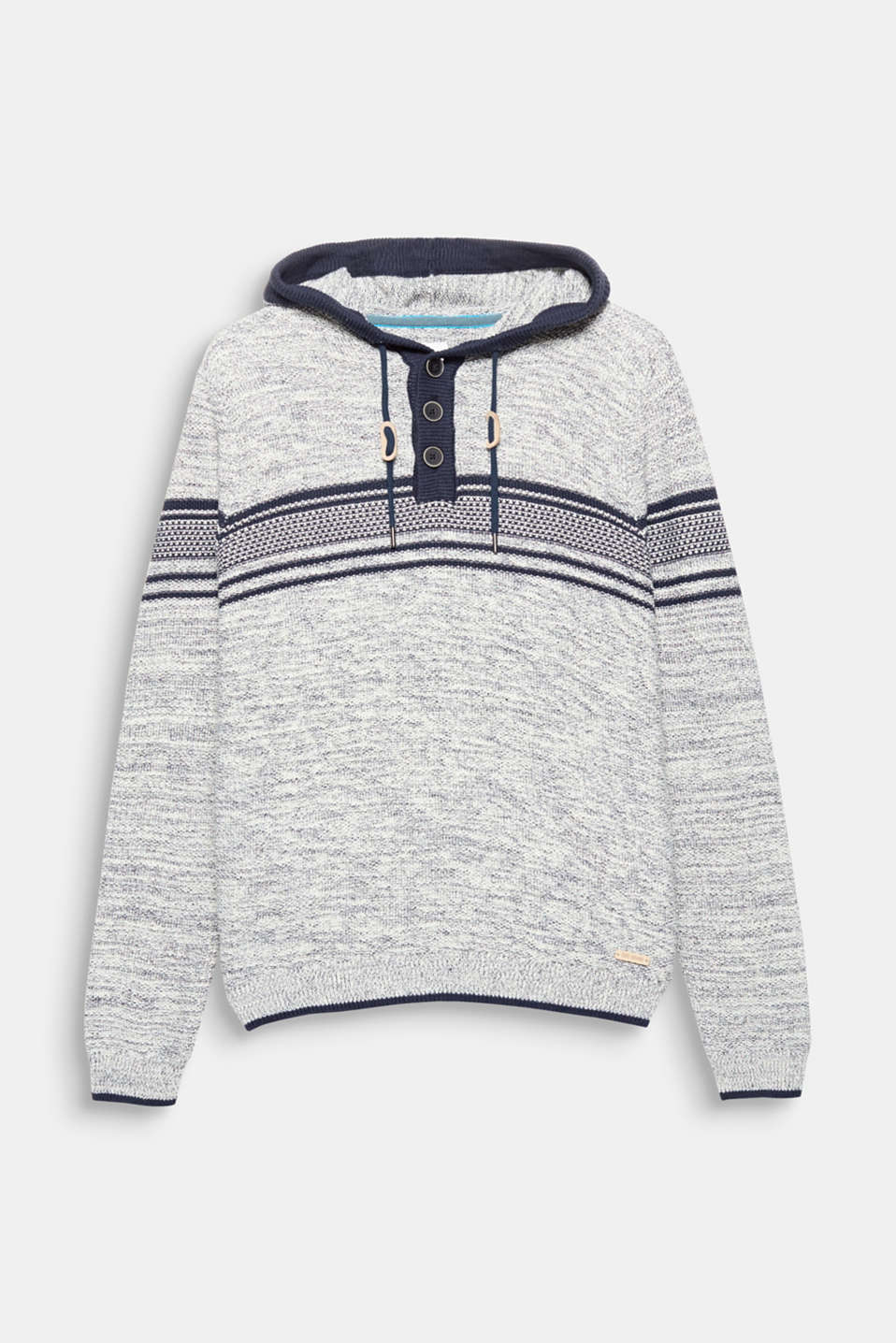 This knit hoodie in blended cotton is laid-back and sporty thanks to its melange texture, nautical stripes and casual hood.