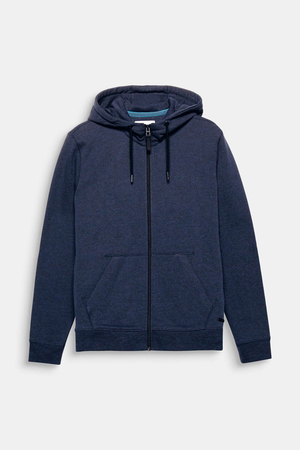 The soft melange sweatshirt fabric and hood with drawstring ties make this hoodie a favourite.