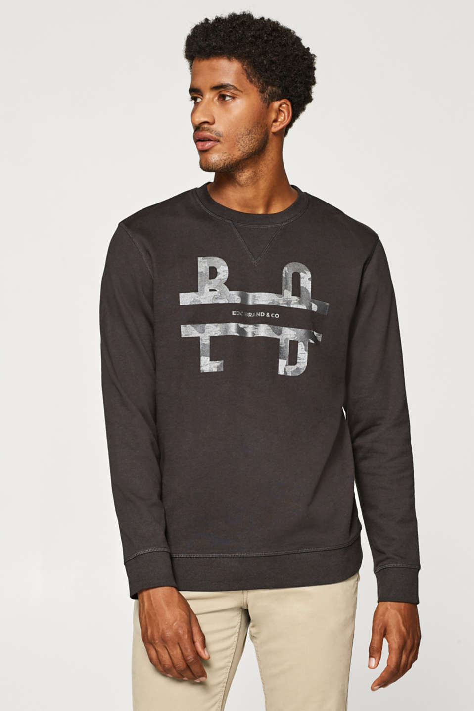 edc - Sweat-shirt imprimé, 100 % coton