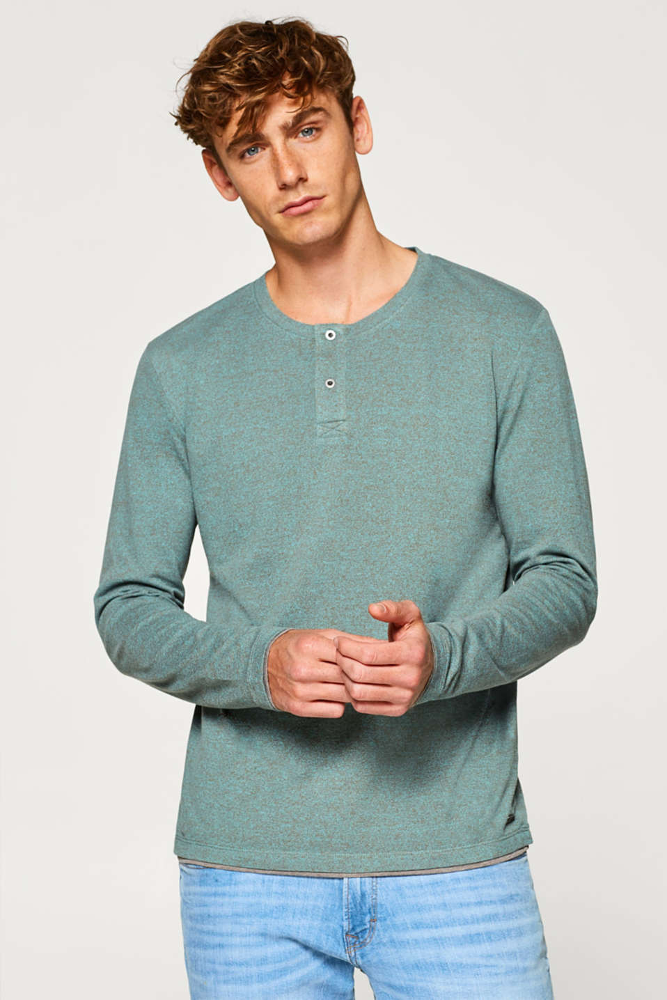 edc - Piqué long sleeve top in blended cotton