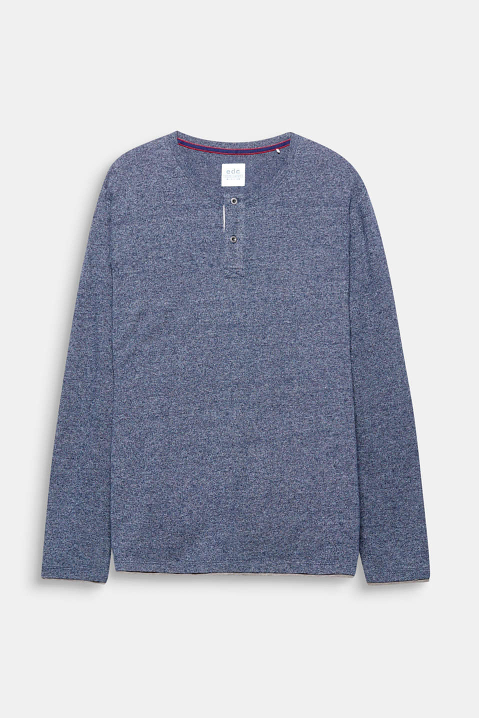 Thanks to the carbonised piqué, this long sleeve top with a Henley neckline is super soft to the touch.
