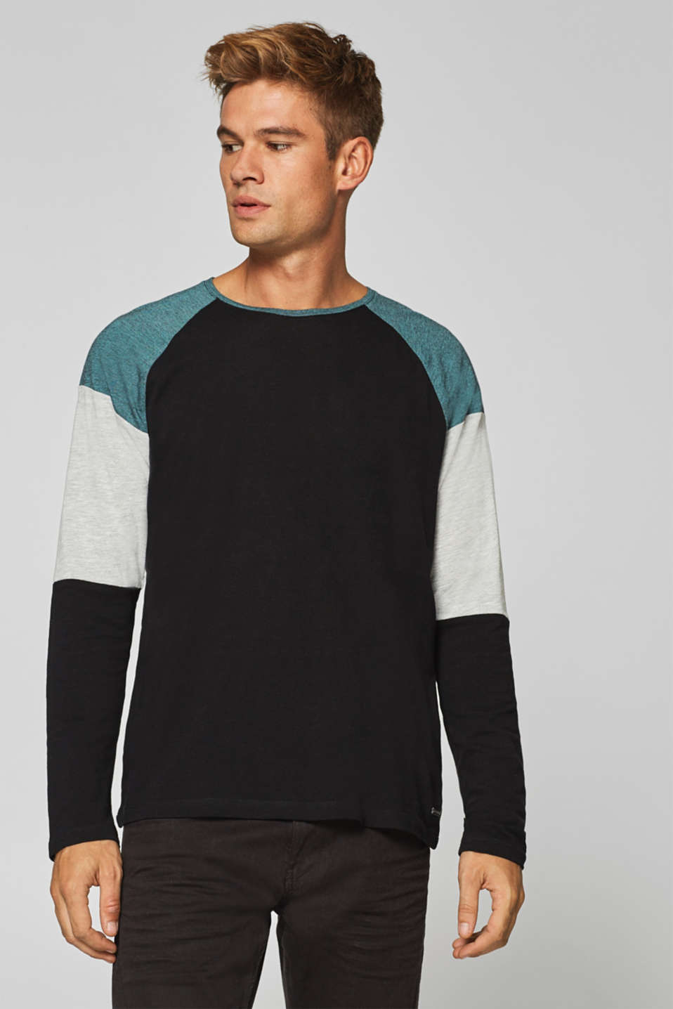 edc - Colour block long sleeve top in jersey