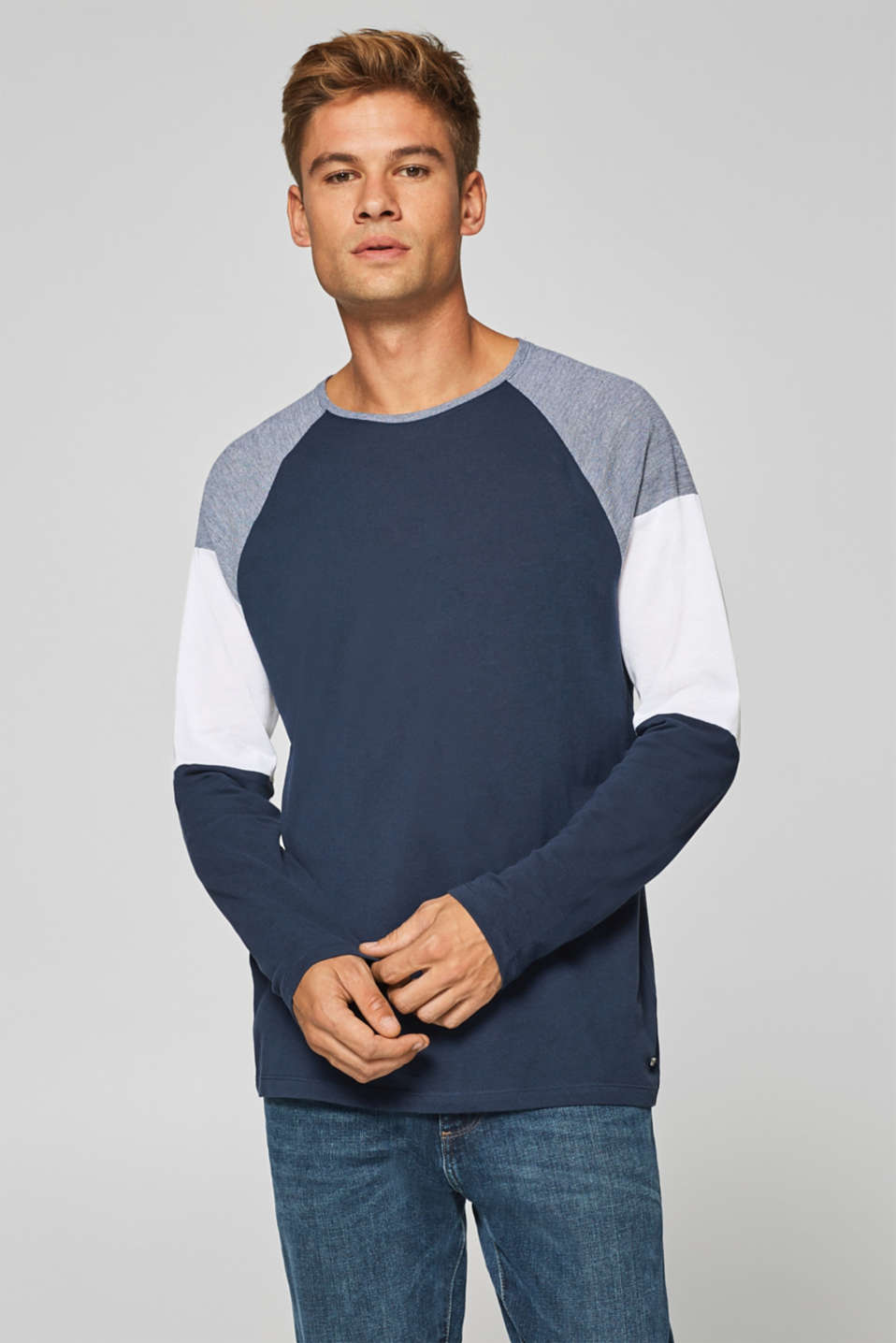 edc - Colour block long sleeve top in cotton jersey