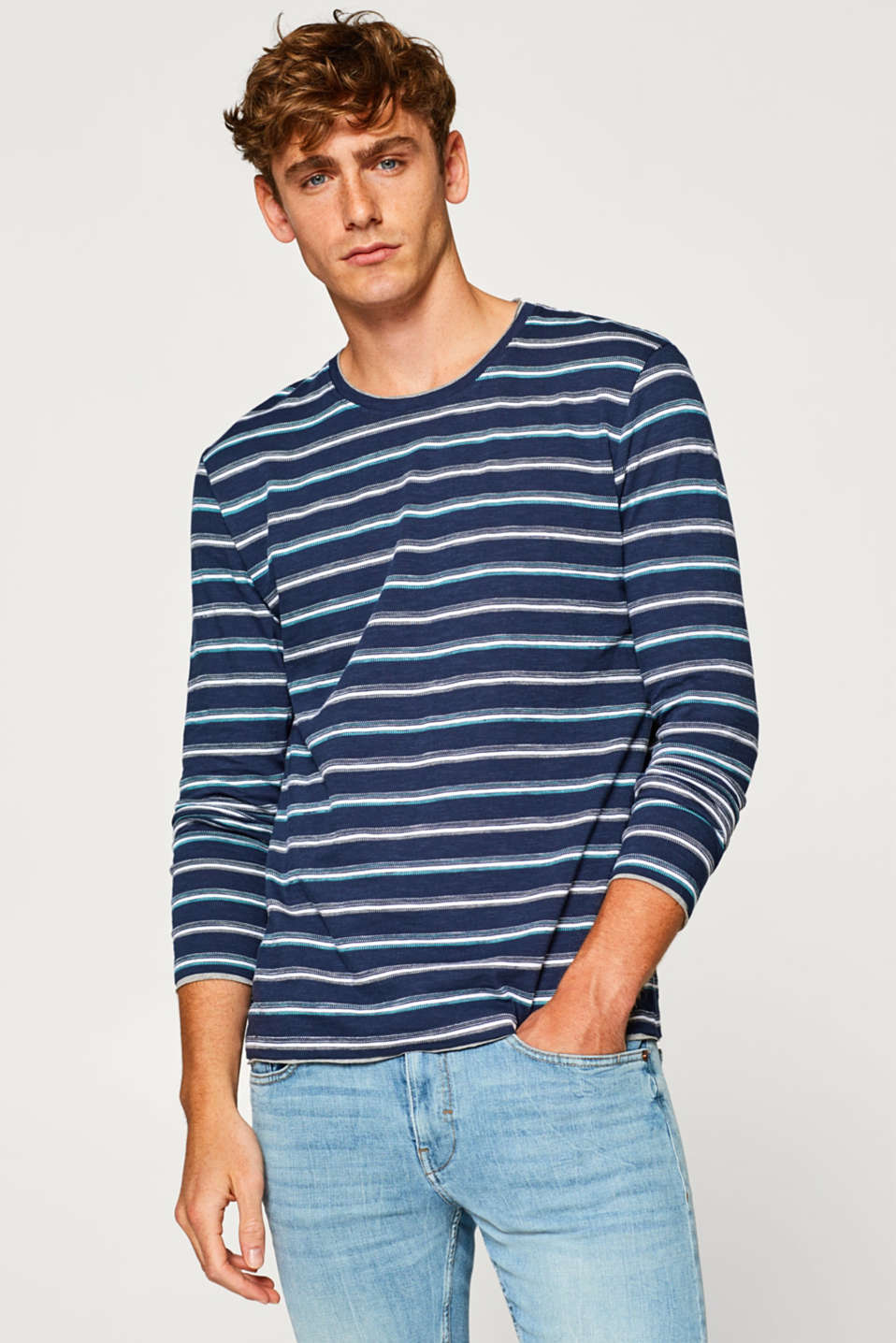 edc - Long sleeve top with textured stripes, made of jersey