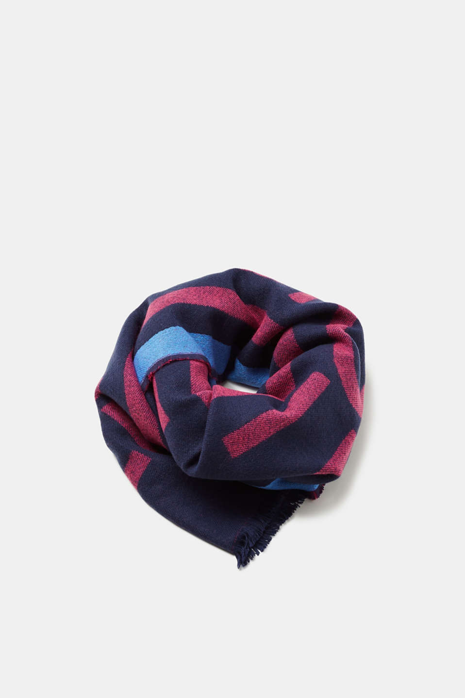 Esprit - Woven scarf with a logo and stripes
