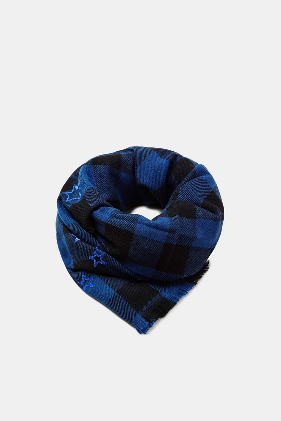 Esprit - Scarf with check pattern and appliqués