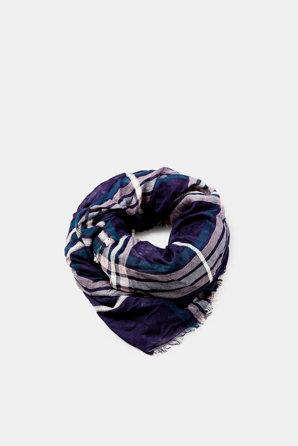 Esprit - Woven scarf with glittering checks and fringing