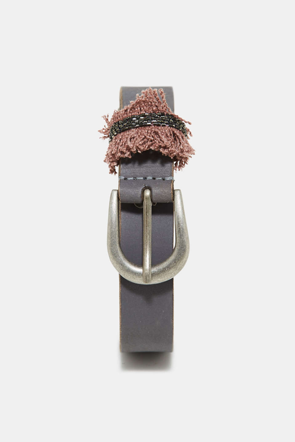 Esprit - Leather belt with a thread-through loop with decorative jewellery