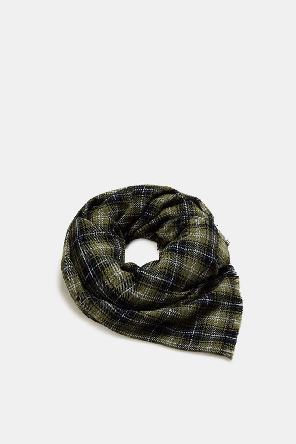 Esprit - Check scarf with fringing