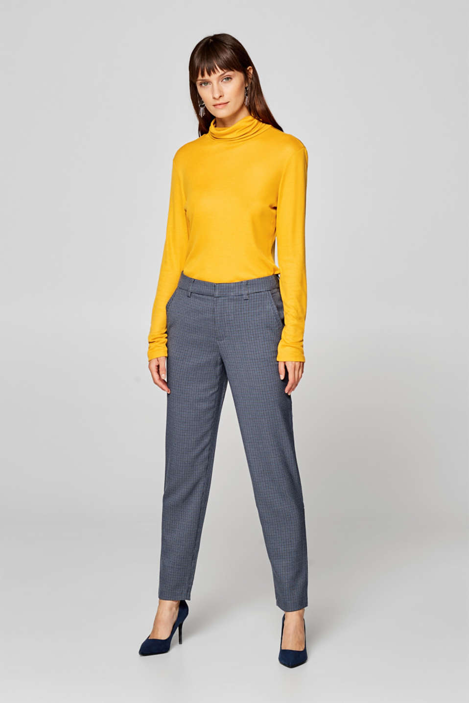Esprit - Stretch trousers with a mini check pattern
