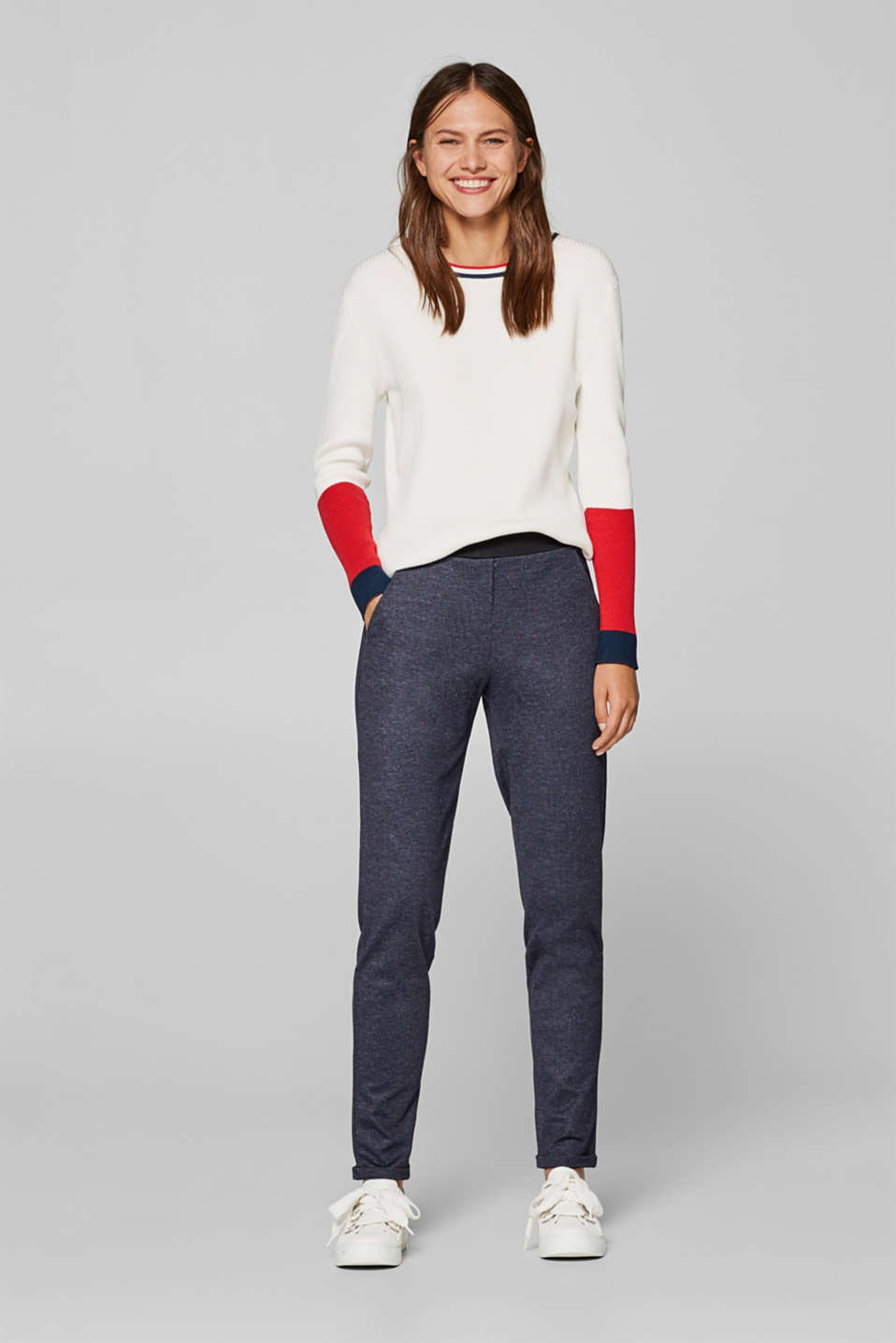 Esprit - Jersey stretch trousers in a tracksuit bottom style