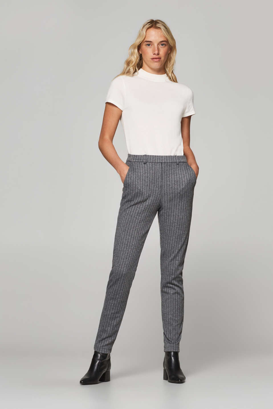 Esprit - PINSTRIPED JERSEY mix + match stretch trousers