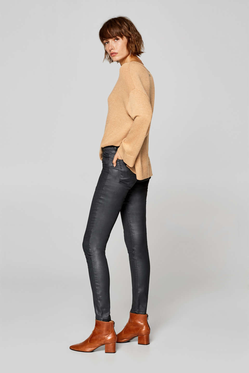 Faux leather stretchy trousers