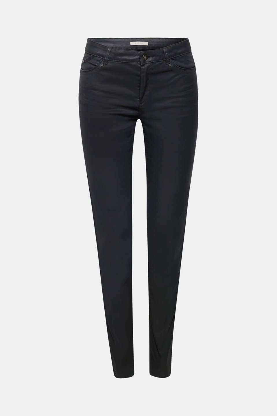 Cool look: These stretchy trousers are incredibly hip thanks to the slim-fitting cut and smooth faux leather!
