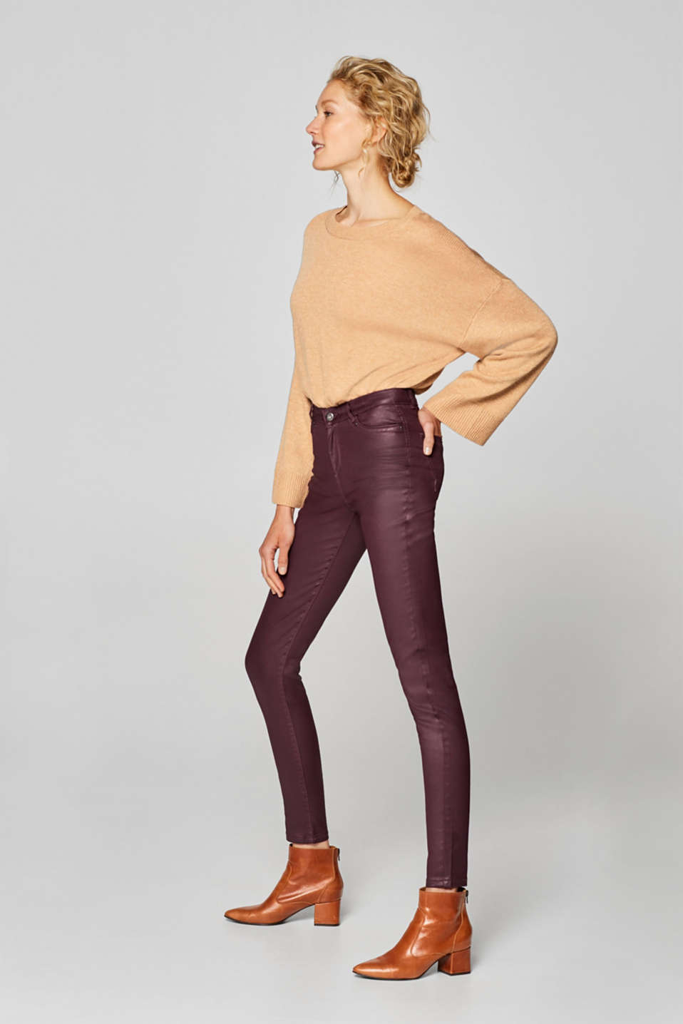 Esprit - Faux leather stretchy trousers