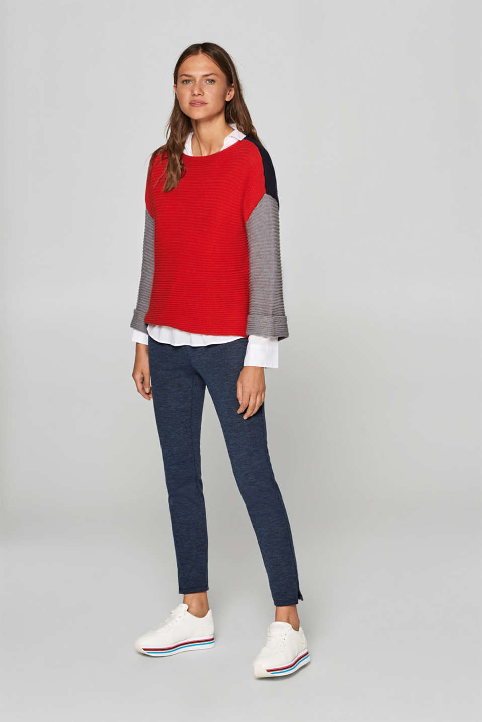 Esprit - Stretch jersey leggings with a two-tone texture